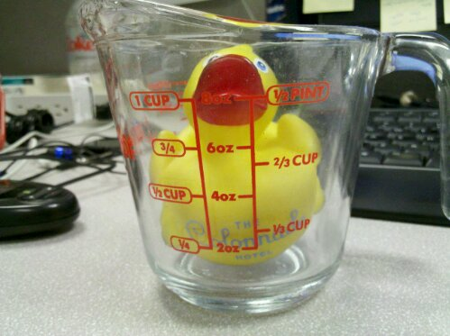 Reading that meniscus has always been tricky. The recipe called for 1 cup of Rubber Duckie, I think I'm a bit off.